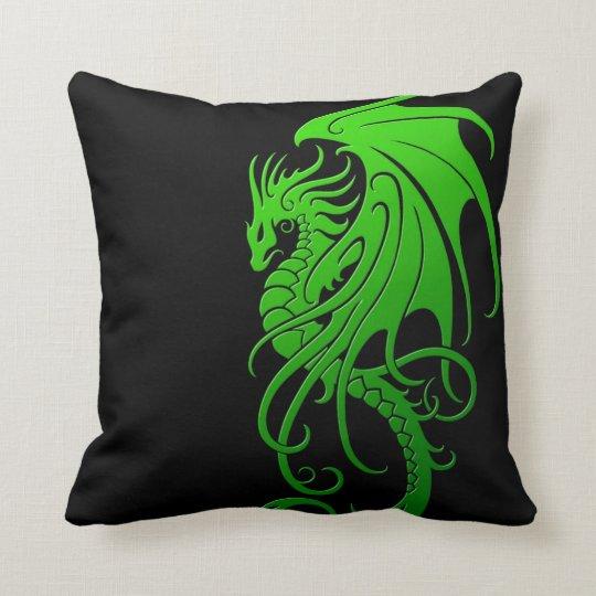 Flying Tribal Dragon - green on black Throw Pillow