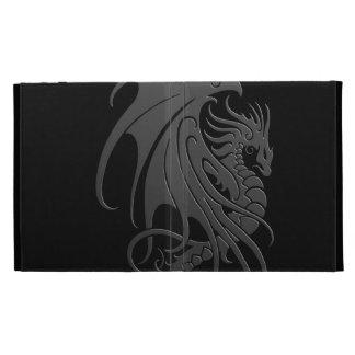 Flying Tribal Dragon - grey on black iPad Folio Cover