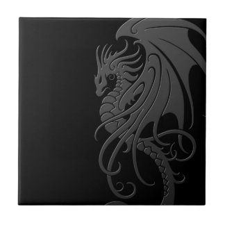 Flying Tribal Dragon - grey on black Ceramic Tile