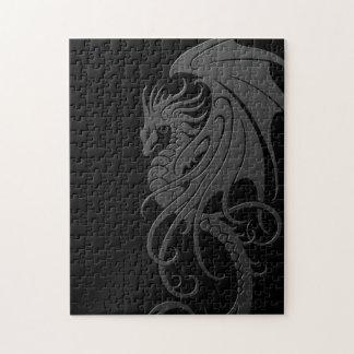 Flying Tribal Dragon - grey on black Jigsaw Puzzles