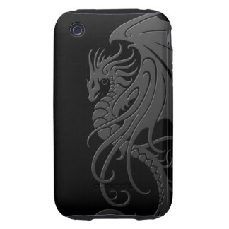 Flying Tribal Dragon - grey on black Tough iPhone 3 Cases