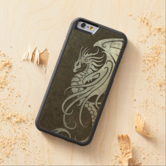 Flying Tribal Dragon – Industrial Steel Effect Carved Maple iPhone 6 Bumper Case