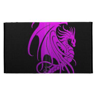 Flying Tribal Dragon - purple on black iPad Cases