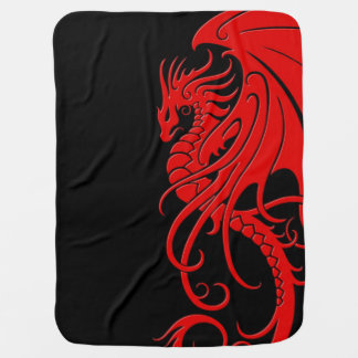 Flying Tribal Dragon - Red on black Baby Blanket
