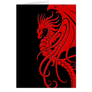 Flying Tribal Dragon - red on black Card