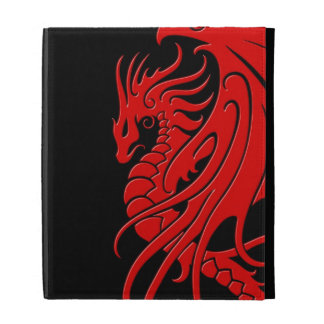 Flying Tribal Dragon - red on black iPad Folio Covers