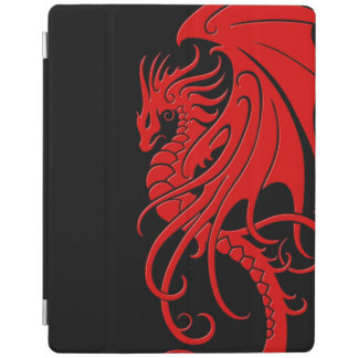 Flying Tribal Dragon - Red on black iPad Cover