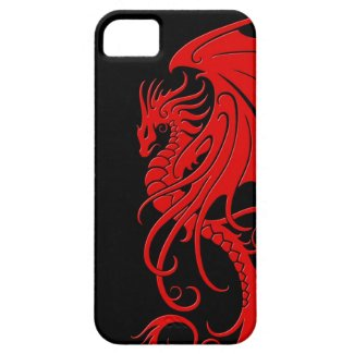 Flying Tribal Dragon - red on black
