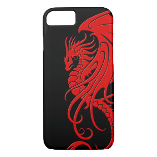 Flying Tribal Dragon - Red on black iPhone 7 Case
