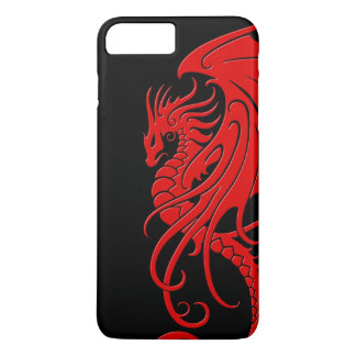 Flying Tribal Dragon - Red on black iPhone 7 Plus Case