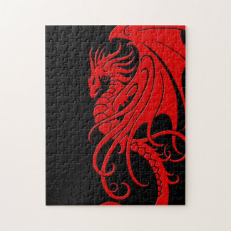Flying Tribal Dragon - red on black Puzzle