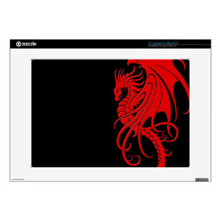 Flying Tribal Dragon - red on black Skin For Laptop