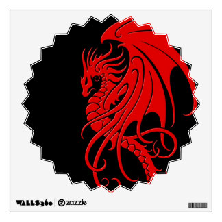 Flying Tribal Dragon - red on black Wall Decal