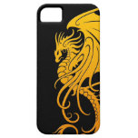 Flying Tribal Dragon - yellow on black iPhone 5 Covers