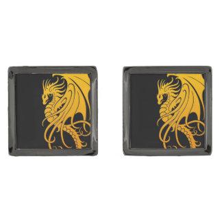 Flying Tribal Dragon - Yellow on black Gunmetal Finish Cufflinks