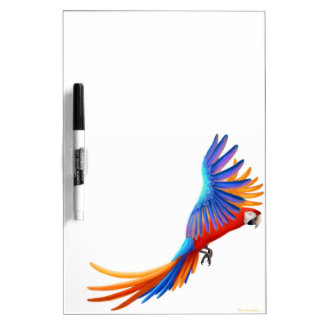 Flying Tropical Macaw Parrot Dry Erase Board
