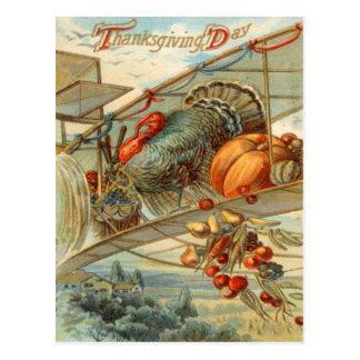 Flying Turkey Airplane Pumpkin Apple Pear Corn Postcard