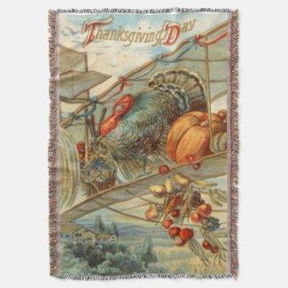 Flying Turkey Airplane Pumpkin Apple Pear Corn Throw Blanket