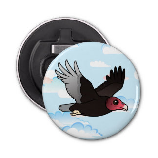 Flying Turkey Vulture Button Bottle Opener