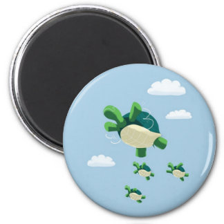 Flying turtle 2 inch round magnet
