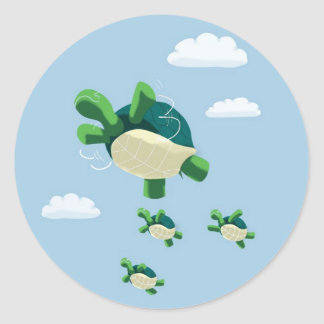 Flying turtle classic round sticker