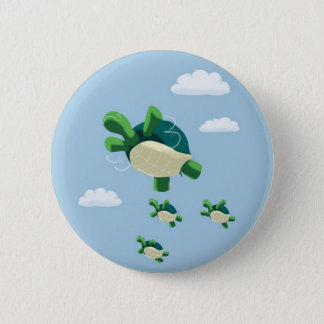 Flying turtle pinback button