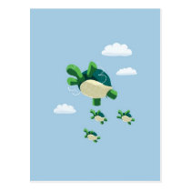Flying turtle postcard