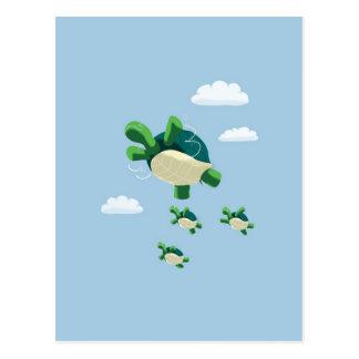 Flying turtle postcard