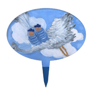 Flying Twin Boys and Stork Oval Cakepick