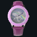 """Flying Unicorn Horse Rainbow Animal Art Wrist Watch<br><div class=""""desc"""">Oh so pretty winged white unicorn horse flying over a pastel colored rainbow animal art watch. Design by Susan. This image is available on many products in my stores. Contact me with design questions or requests. Visit my Profile page to find links to all of my stores. Thanks for stopping...</div>"""
