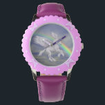 "Flying Unicorn Horse Rainbow Animal Art Wrist Watch<br><div class=""desc"">Oh so pretty winged white unicorn horse flying over a pastel colored rainbow animal art watch. Design by Susan. This image is available on many products in my stores. Contact me with design questions or requests. Visit my Profile page to find links to all of my stores. Thanks for stopping...</div>"