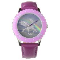 Flying Unicorn Horse Rainbow Animal Art Wrist Watch