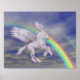 Flying Unicorn Over Rainbow Fantasy Horse Poster