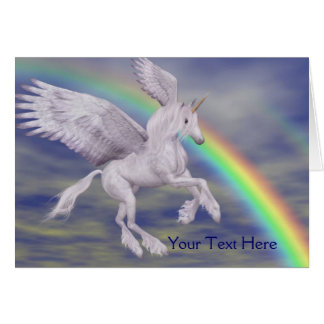 Flying Unicorn Rainbow Fantasy Art Photo Card