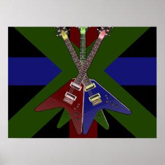 Flying V Guitar Shredder Posters
