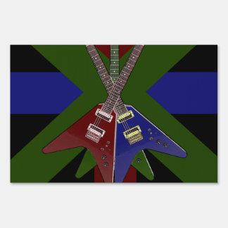 Flying V Guitar Shredder Sign