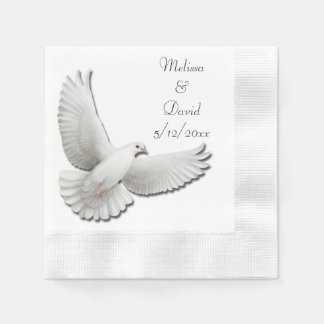 Flying Wedding Dove Customizable Paper Napkins