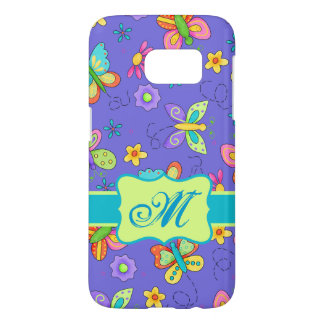 Flying Whimsy Butterflies Purple Lavender Monogram Samsung Galaxy S7 Case