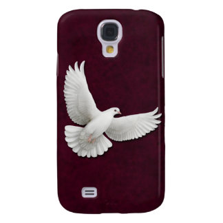 Flying White Dove on Maroon HTC Vivid Tough Case Galaxy S4 Cases