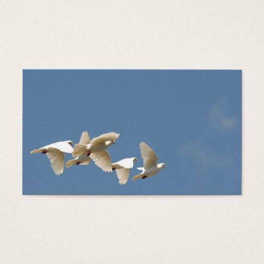 Flying white doves business card