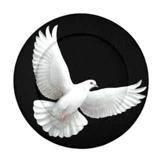 Flying White Peace Dove Button Covers