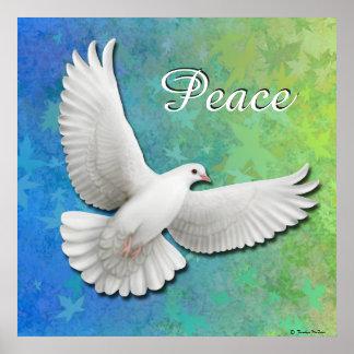 Flying White Peace Dove Print