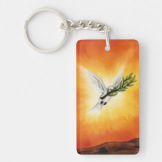 flying white peace dove with a twig keychain