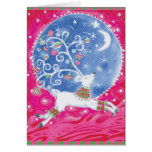 Flying White Reindeer Card