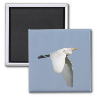 Flying white stork 2 inch square magnet
