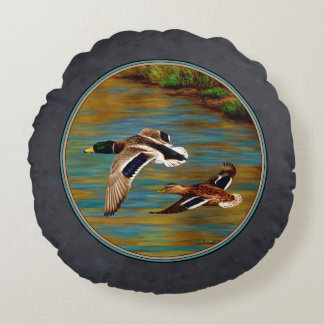 Flying Wild Ducks Charcoal Gray Round Pillow