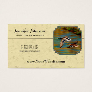 Flying Wild Ducks Yellow Business Card
