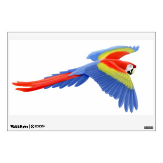 Flying Wild Scarlet Macaw Parrot Wall Decal