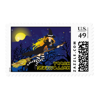 flying witch_1 postage stamp