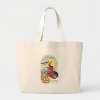 Flying Witch, Bats, Cat, Owl Moon Jumbo Tote Bag